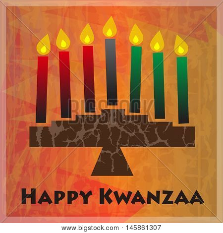 Kinara and Happy Kwanzaa text on orange abstract background. Eps10