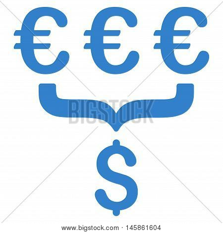 Euro Dollar Conversion Aggregator icon. Vector style is flat iconic symbol, cobalt color, white background.
