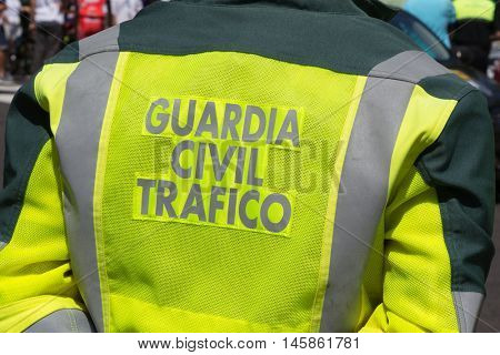 VALENCIA, SPAIN - SEPTEMBER 1, 2016: Guardia Civil Traffic officer from the back. The Guardia Civil is organized as a military force with police duties under both the Interior and Defense Departments.