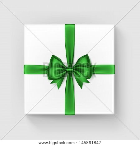 Vector White Square Gift Box with Shiny Bright Green Satin Bow and Ribbon Top View Close up Isolated on White Background