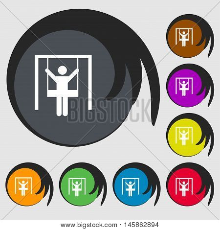 Child Swinging Icon Sign. Symbols On Eight Colored Buttons. Vector