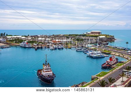 KINGS WHARF BERMUDA MAY 25 - A scenic view of the Royal Naval Dockyard on May 25 2016 in Bermuda.
