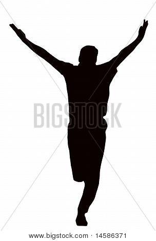 Sport Silhouette - Bowler Celebrating