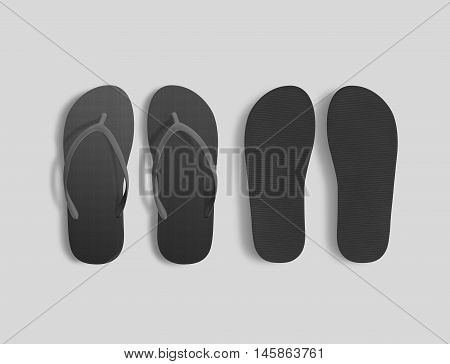 Pair of blank black beach slippers mockup top and sole view 3d illustration. Home plain flops mock up template. Clear bath sandal display. Bed shoes accessory footwear. Rubber flipflops bottom view