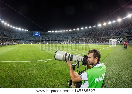 Tbilisi Georgia - August 18 2016: Photographer during the UEFA Europa League game first round of the playoffs between Dinamo Tbilisi vs PAOK