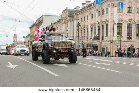 St. Petersburg, Russia - 13 August, Large SUV girls on Nevsky Prospekt,13 August, 2016. The annual parade of Harley Davidson in the squares and streets of St. Petersburg.