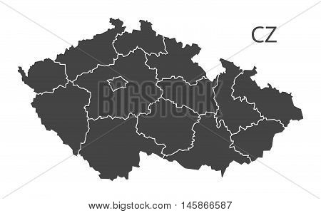 Czech Republic grey map with regions isolated vector high res