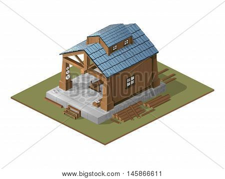 Illustration with the image of a workshop on wood.Work carried out in an isometric view.Wooden building as a workshop.