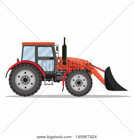 red Tractor bulldozer icon isolated on white background. Vector illustration in flat design