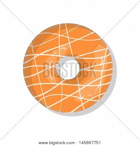 Tasty orange sweet donut icon with sprinkles isolated on white background. Top view illustration of doughnut for your cafe, restaurant, shop flyer and banner