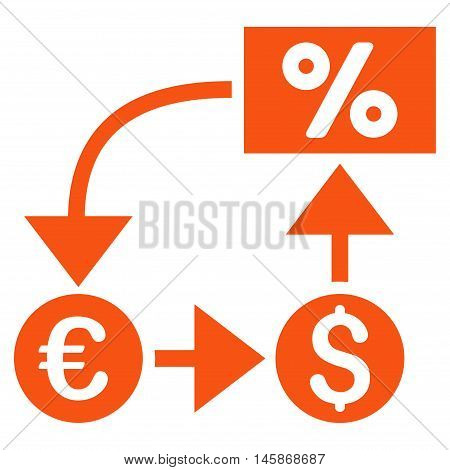 Currency Cashflow icon. Vector style is flat iconic symbol, orange color, white background.