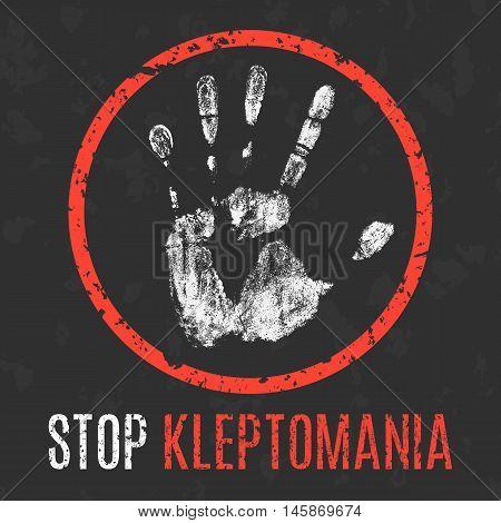 Conceptual vector illustration. Human diseases. Stop kleptomania.