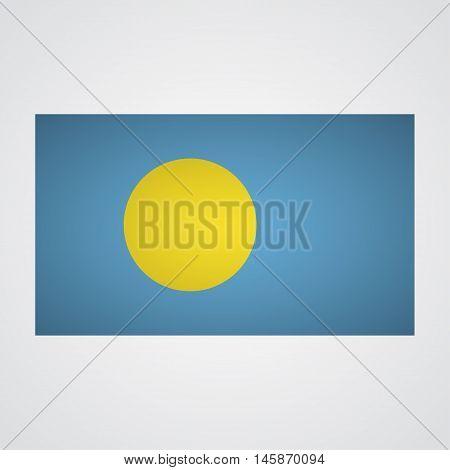 Palau flag flag on a gray background. Vector illustration
