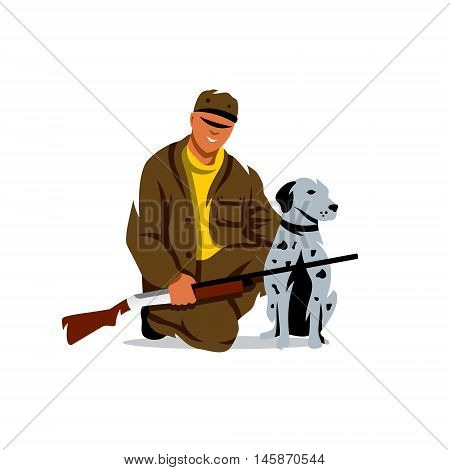 Man with gun and greyhound. Isolated on a white background