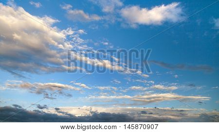 Evening sunset view of beautiful sky with clouds