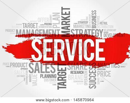 SERVICE word cloud business concept, presentation background