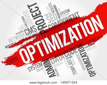 OPTIMIZATION word cloud business concept, presentation background