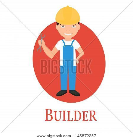 Occupation builder a young man of character. vector illustration .