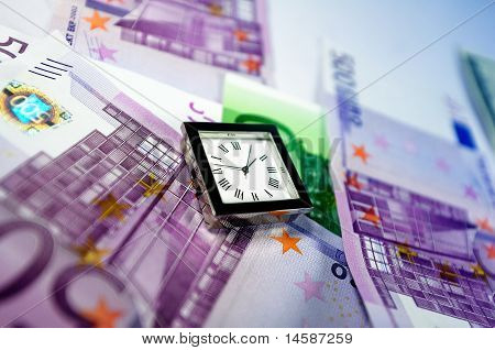 Watch On Top Of Euro Bills