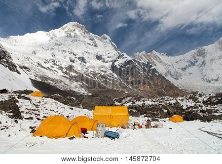 Annapurna south from mount Annapurna base camp with tents Nepal