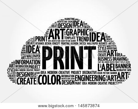 Print Word Cloud, Creative Concept