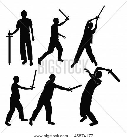 Set swordsman silhouettes in different poses. Vector illustration