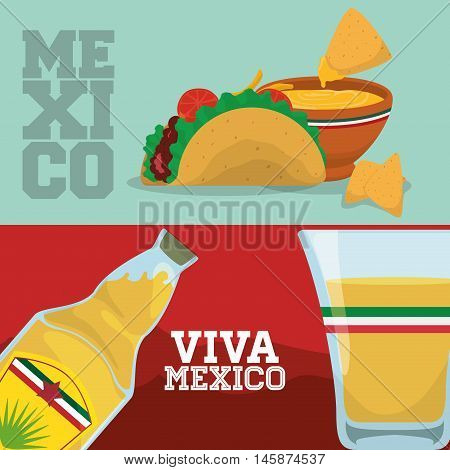 Tequila shot and taco . Mexico landmark and mexican culture theme. Colorful design. Vector illustration