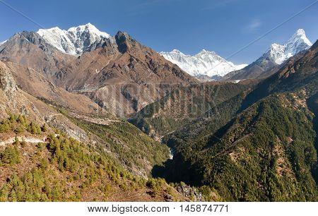 Panoramic view of Mount Everest Lhotse and Ama Dablam - Sagarmatha national park - Nepal
