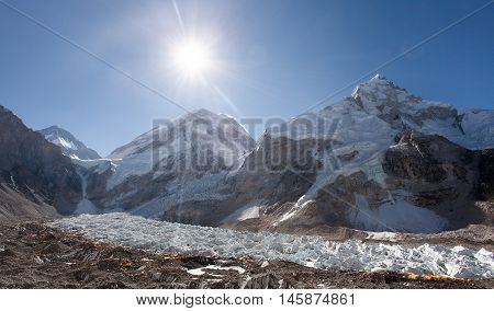 Morning sun above Mount Everest lhotse and Nuptse from Pumo Ri base camp - Way to Everest base camp - Nepal