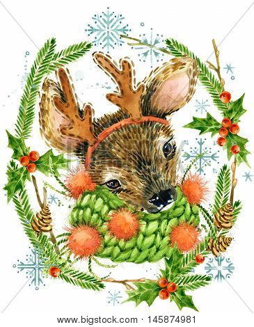 Cute reindeer. Christmas card. Forest animal. Watercolor winter forest illustration. Christmas wreath frame. watercolor winter holidays background.