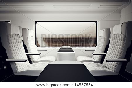 Interior Inside Luxury Class Cabin Modern Fast Express Train.Nobody White Leather Chair Window.Comfortable Seat Table Business Travel.3d rendering.High Textured Row Material.Motion Blur Background
