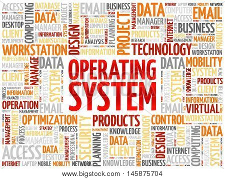 Operating System word cloud concept, presentation background