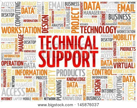 Technical support word cloud concept, presentation background