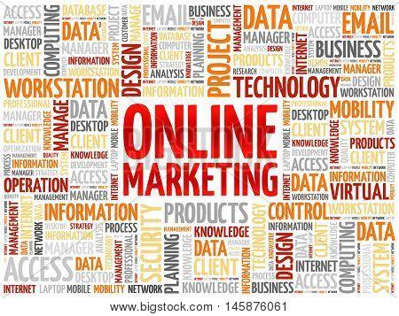 Online marketing word cloud concept, presentation background