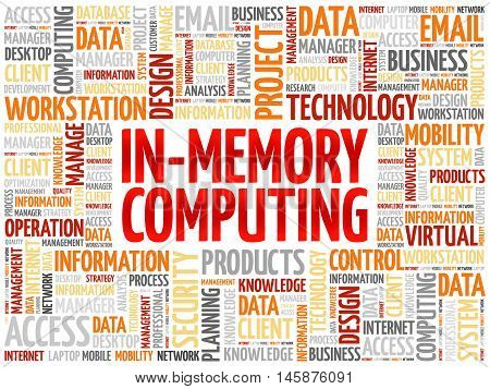 In-Memory Computing word cloud concept, presentation background