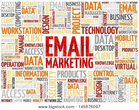 Email Marketing word cloud concept, presentation background