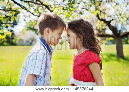 quarrel brother and sister, two children. The concept of childhood and lifestyle