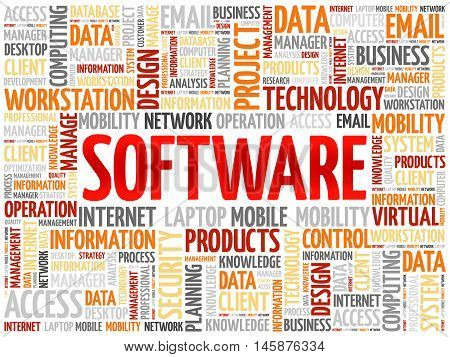 Software word cloud concept , presentation background