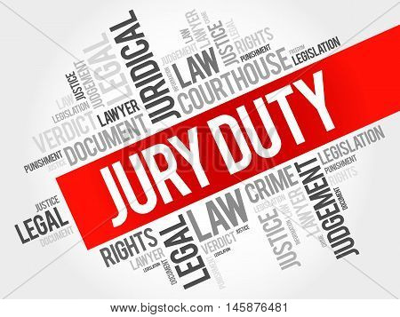 Jury Duty word cloud concept, presentation background