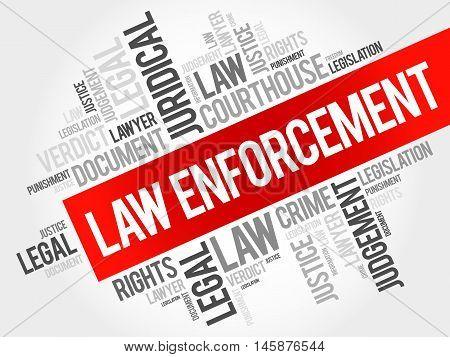 Law enforcement word cloud concept , presentation background