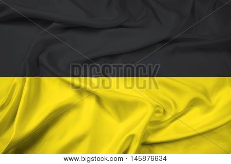 Waving Flag of Baden-Wurttemberg Germany, with beautiful satin background.