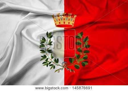 Waving Flag Of Bari With Coat Of Arms, Italy