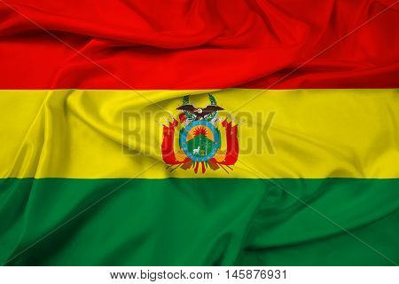 Waving Flag Of Bolivia With Coat Of Arms