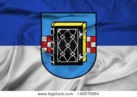 Waving Flag Of Bochum With Coat Of Arms, Germany