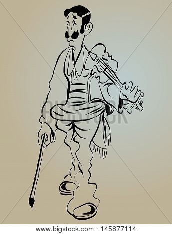 busker violinist, cartoon sketch of a man with a big mustache