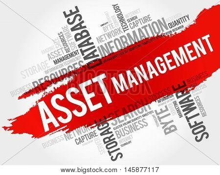 Asset Management word cloud business concept, presentation background