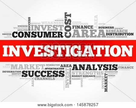 Investigation word cloud business concept, presentation background