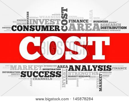 Cost word cloud business concept, presentation background