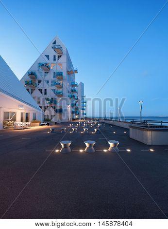 AARHUS, DENMARK - AUGUST 9, 2016: View from external of the Isbjerget Aarhus, residential building in the Aarhus Docklands neighborhood, It is situated on the waterfront on Mariane Thomsens Gade