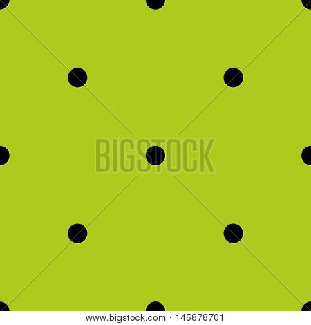 Tile spring vector pattern with black polka dots on grass green background.